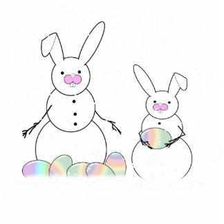 Conejitos de la nieve de los muñecos de nieve de P Esculturas Fotográficas