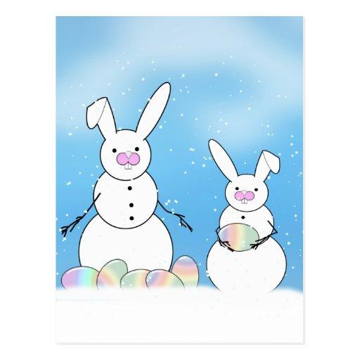 Conejitos de la nieve de los muñecos de nieve de tarjetas postales