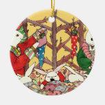 Conejitos de la Nochebuena Ornamento Para Arbol De Navidad