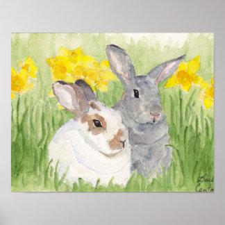 Conejitos de la primavera en flores póster
