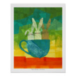 Conejitos de la taza de té poster