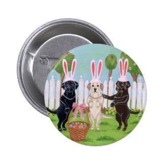 ¡Conejitos de Labrador pascua!! Pin Redondo De 2 Pulgadas