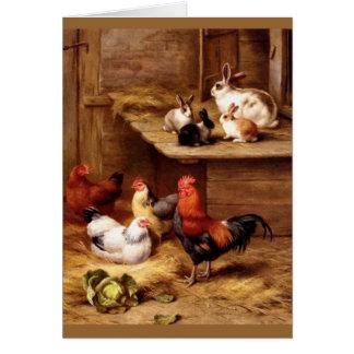 Conejitos de los animales del campo de las gallina tarjeton
