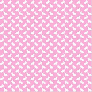 Conejitos de pascua blancos en rosa imán fotoescultura