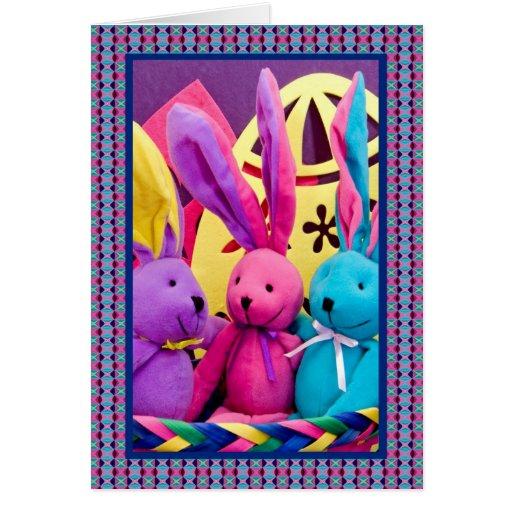 Conejitos de pascua coloridos I Tarjetas