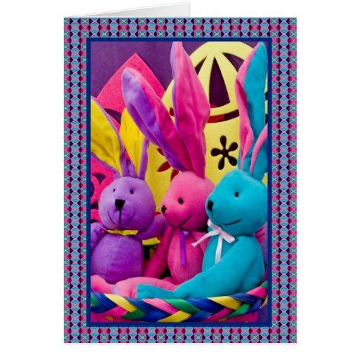 Conejitos de pascua coloridos II Tarjeta De Felicitación