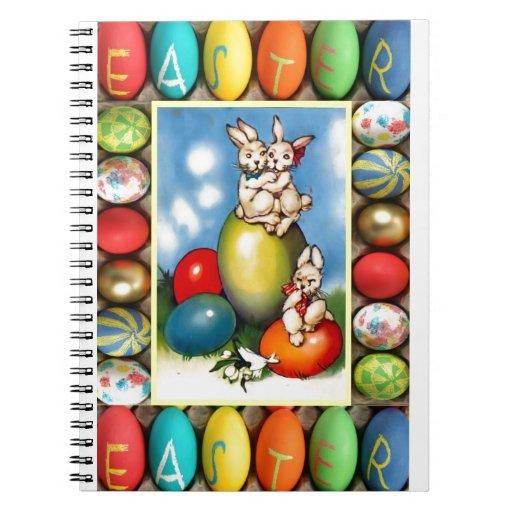 Conejitos de pascua con los huevos de Pascua Libro De Apuntes