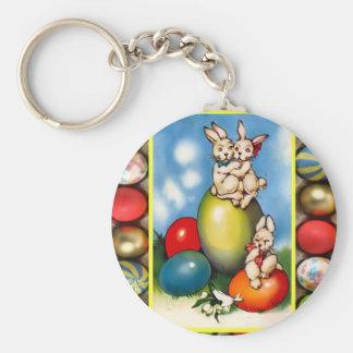Conejitos de pascua con los huevos de Pascua Llavero Redondo Tipo Pin