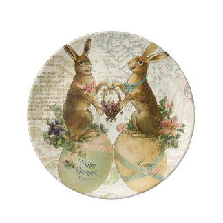 Conejitos de pascua del francés del vintage plato de cerámica