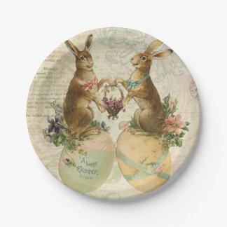 Conejitos de pascua del francés del vintage plato de papel 17,78 cm
