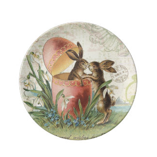 Conejitos de pascua del francés del vintage platos de cerámica
