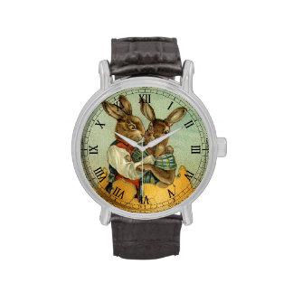 Conejitos de pascua del Victorian del vintage, hue Reloj