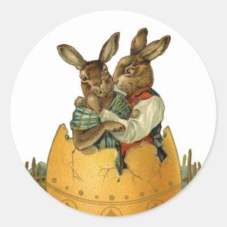 Conejitos de pascua del Victorian del vintage, Pegatinas Redondas