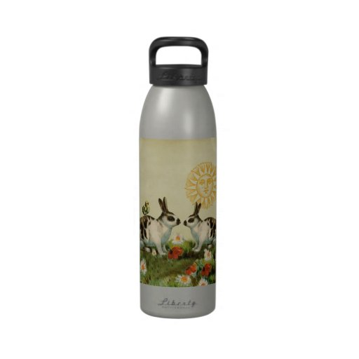 Conejitos de pascua del vintage botella de agua reutilizable