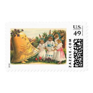 Conejitos de pascua del vintage de Fröhliche Sello Postal