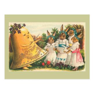 Conejitos de pascua del vintage de Fröhliche Tarjetas Postales
