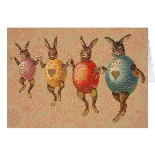 Conejitos de pascua del vintage que bailan con los tarjeta de felicitación