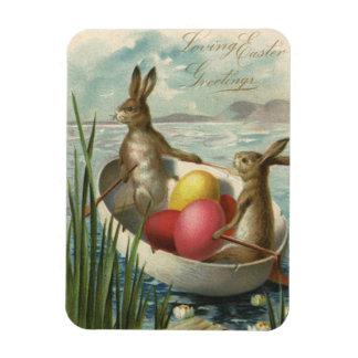 Conejitos de pascua del vintage y huevos de Pascua Iman Rectangular