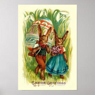 Conejitos de pascua en el vintage alto Pascua de Póster