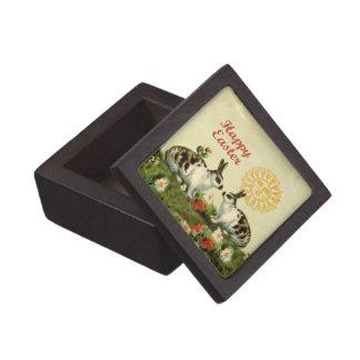 Conejitos de pascua y polluelos del bebé cajas de recuerdo de calidad