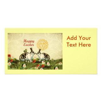 Conejitos de pascua y polluelos del bebé tarjetas personales con fotos