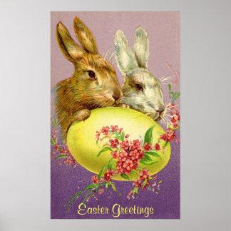 Conejitos de pascua y poster del vintage del huevo