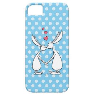 Conejitos del amor - azul iPhone 5 fundas