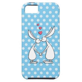 Conejitos del amor - azul iPhone 5 funda
