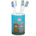 Conejitos del amor vasos para cepillos de dientes