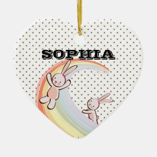 Conejitos del arco iris adorno navideño de cerámica en forma de corazón