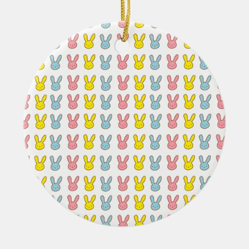 Conejitos del arco iris adorno redondo de cerámica