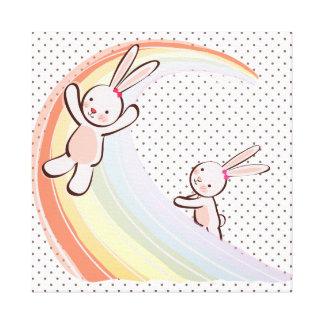 Conejitos del arco iris impresiones en lona estiradas