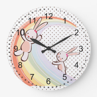 Conejitos del arco iris reloj redondo grande