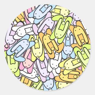 conejitos del color pegatina redonda