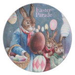Conejitos del desfile de Pascua y huevos de Pascua Plato Para Fiesta