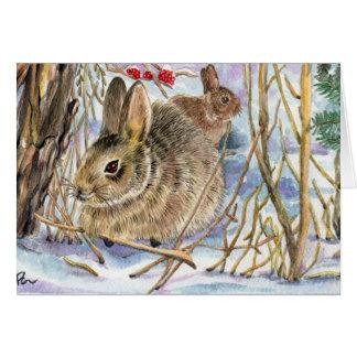Conejitos del invierno tarjeta pequeña
