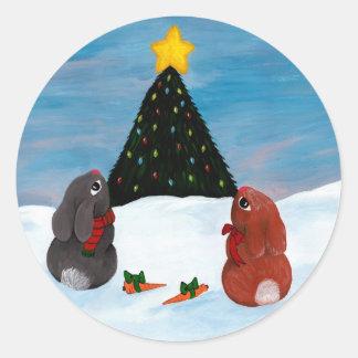 Conejitos del navidad pegatina redonda
