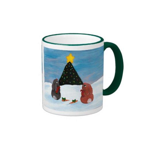 Conejitos del navidad taza de dos colores