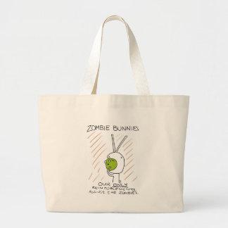 ¡Conejitos del zombi! (con las rayas) Bolsa Tela Grande