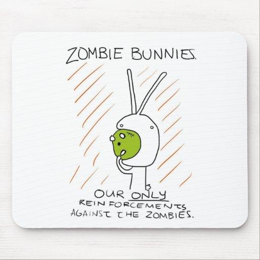 ¡Conejitos del zombi! (con las rayas) Alfombrillas De Ratón