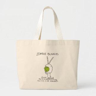 ¡Conejitos del zombi! (sin rayas) Bolsa Tela Grande