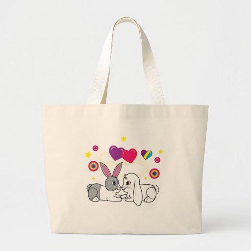 Conejitos en amor bolsa tela grande