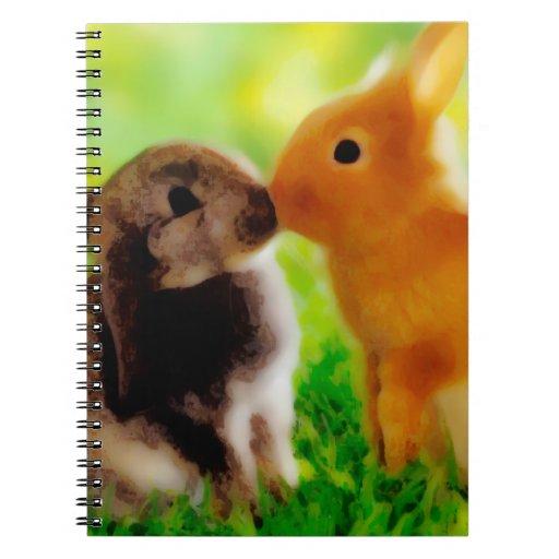 Conejitos en amor spiral notebooks