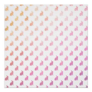 Conejitos en colores pastel blancos púrpuras del perfect poster