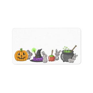 Conejitos fantasmagóricos de Halloween Etiqueta De Dirección