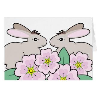 conejitos gemelos tarjeta de felicitación