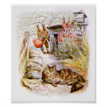 Conejitos que miran las ilustraciones del gato posters