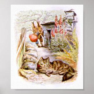 Conejitos que miran las ilustraciones del gato póster