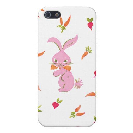 Conejitos rosados con las zanahorias iPhone 5 coberturas