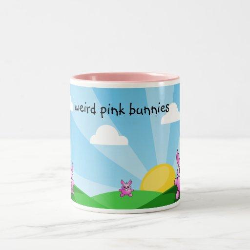 conejitos rosados extraños, taza de café
